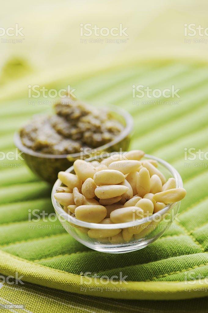 Pine nuts and Pesto royalty-free stock photo