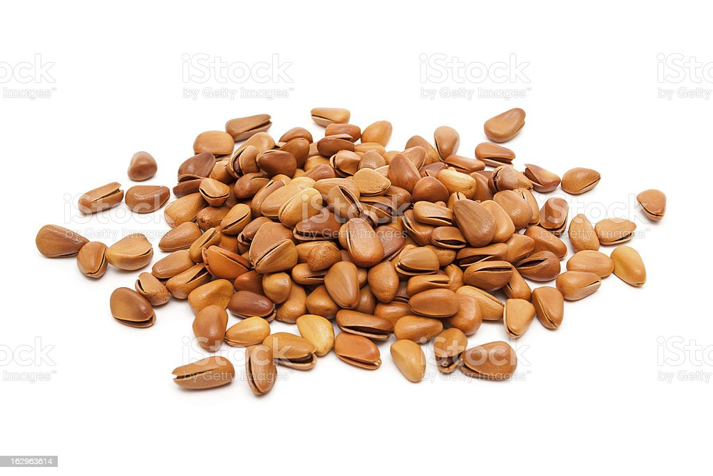 Pine Nuts isolated on white background royalty-free stock photo