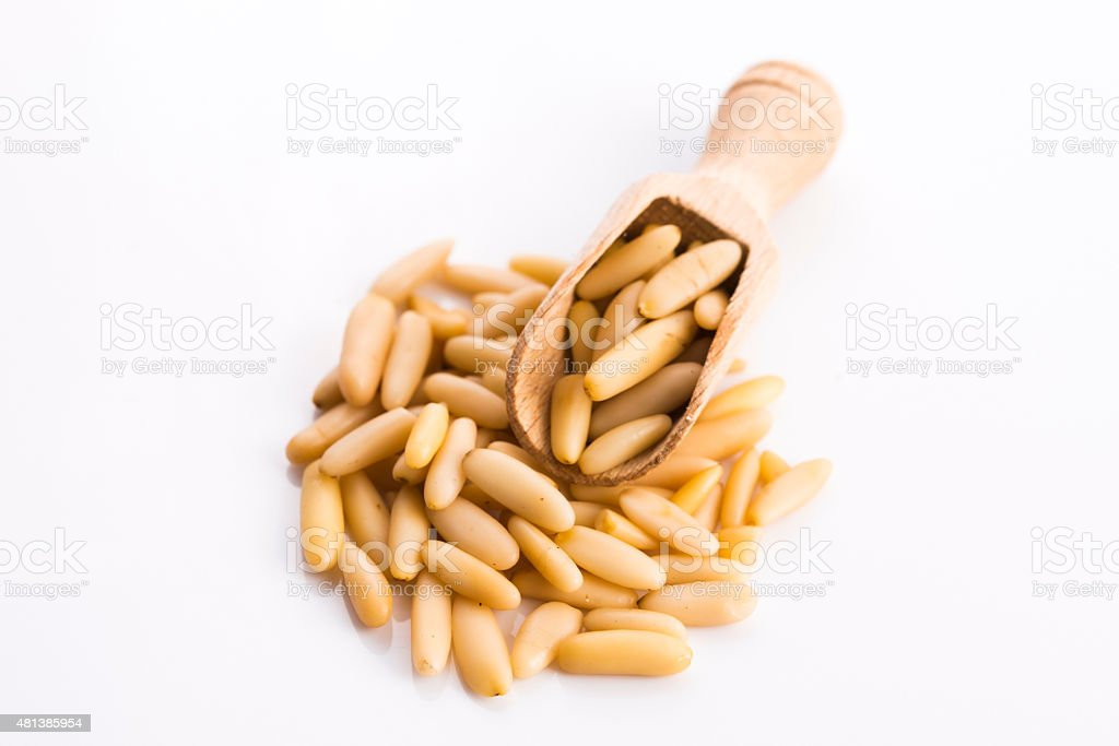 pine nuts isolated on white stock photo