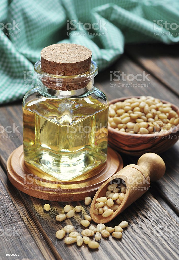 pine nuts oil royalty-free stock photo