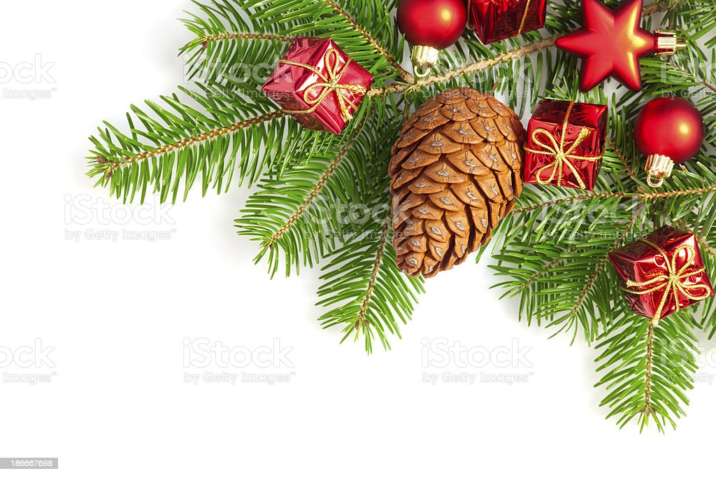 Pine tree with christmas ornaments royalty-free stock photo