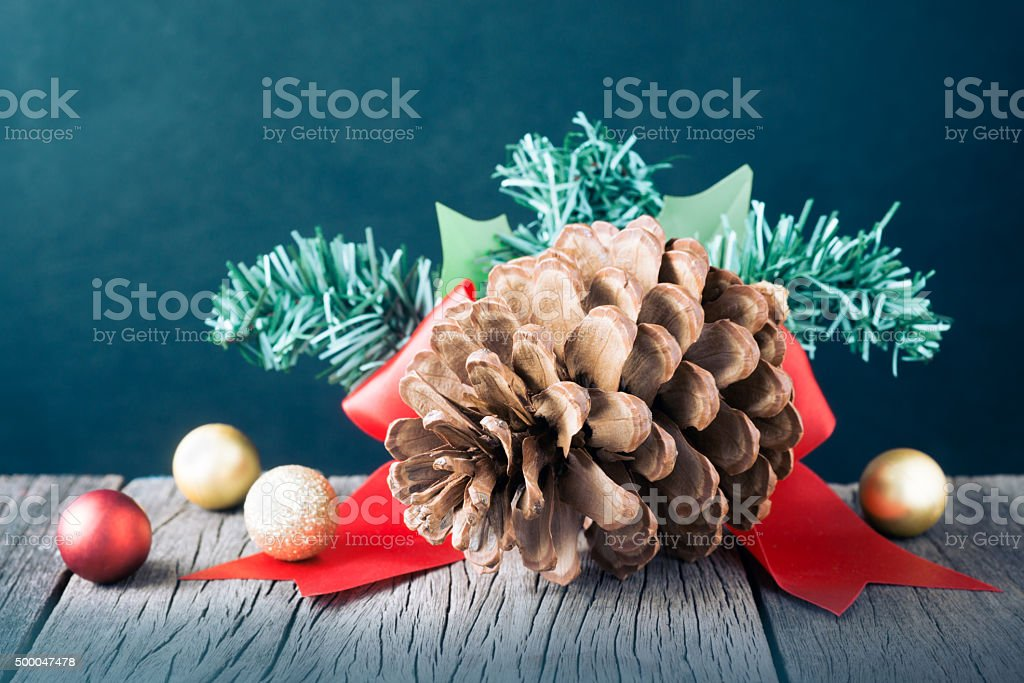 pine with christmas decoration stock photo