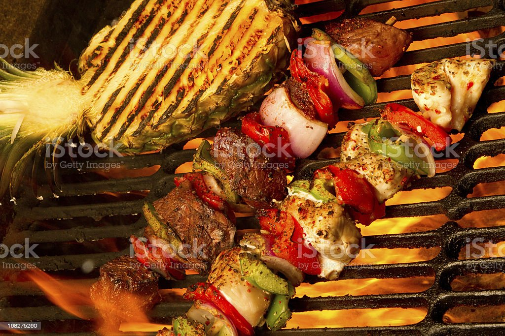 pineapple and kabobs stock photo