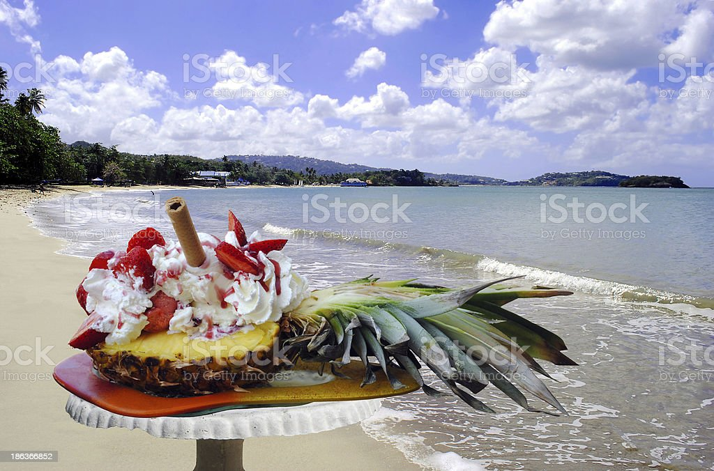 Pineapple and strawberry ice cream in St Lucia stock photo