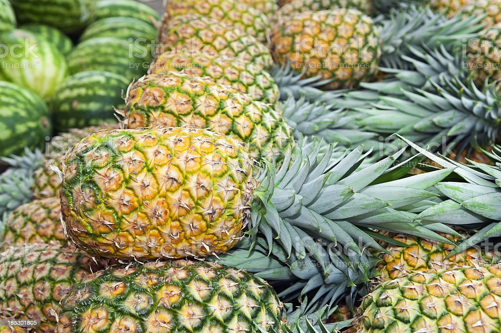 Pineapple and watermelon stock photo