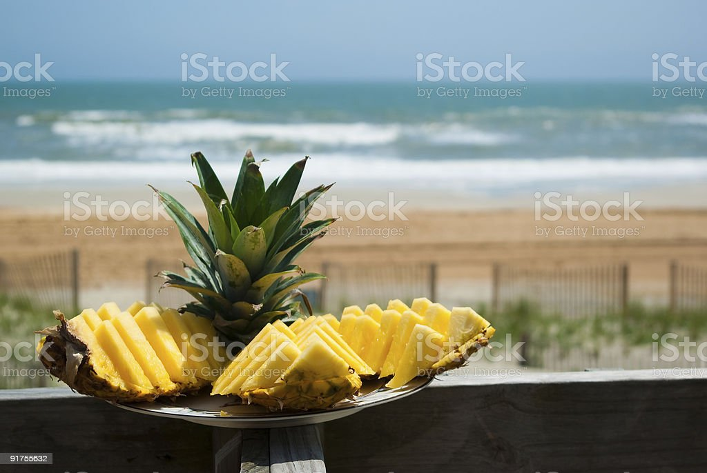 Pineapple at the oceanfront royalty-free stock photo