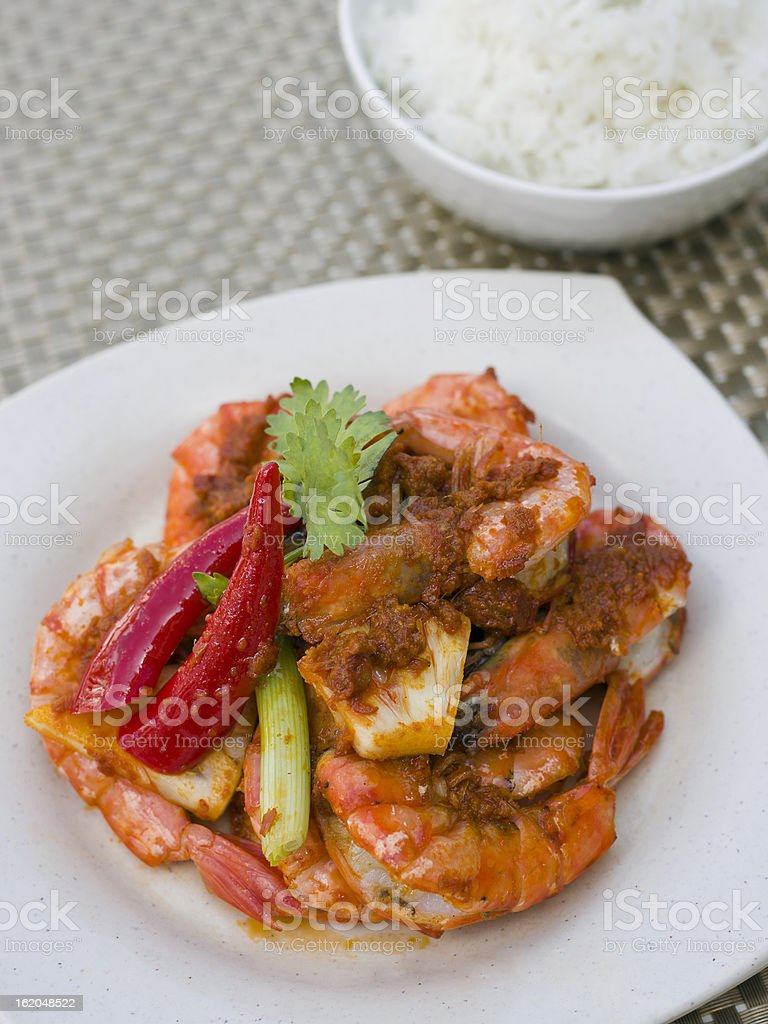 Pineapple Chillies Prawns royalty-free stock photo