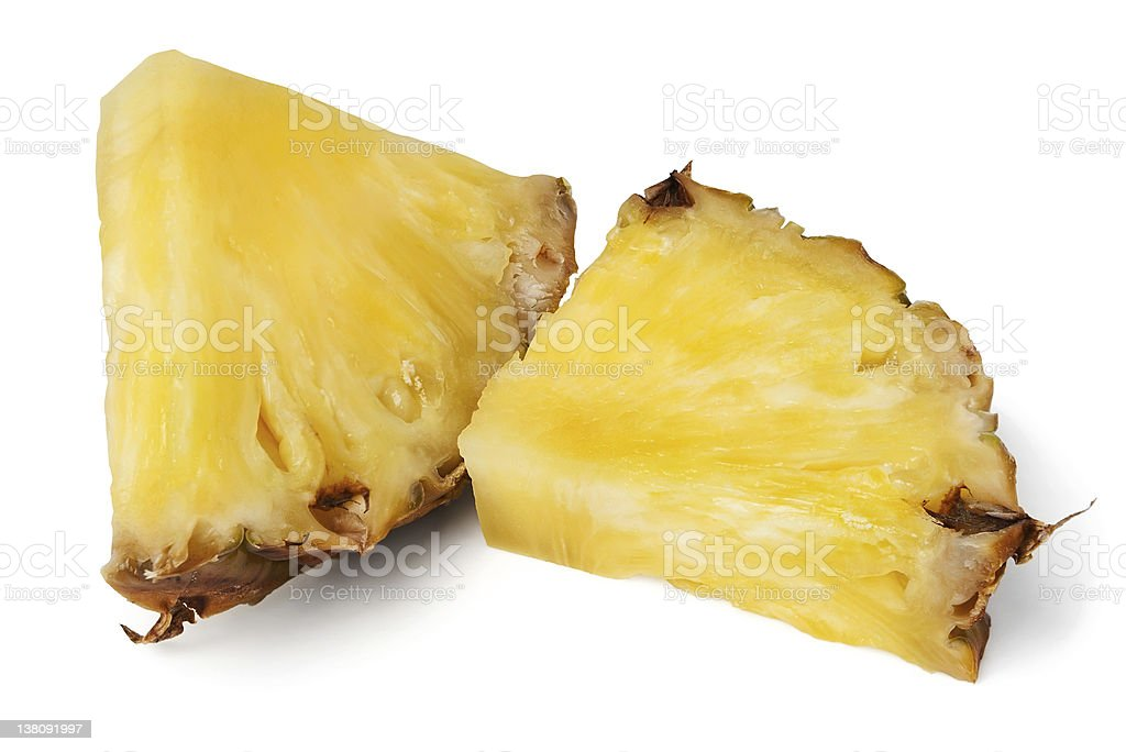 Pineapple chunks on white background royalty-free stock photo