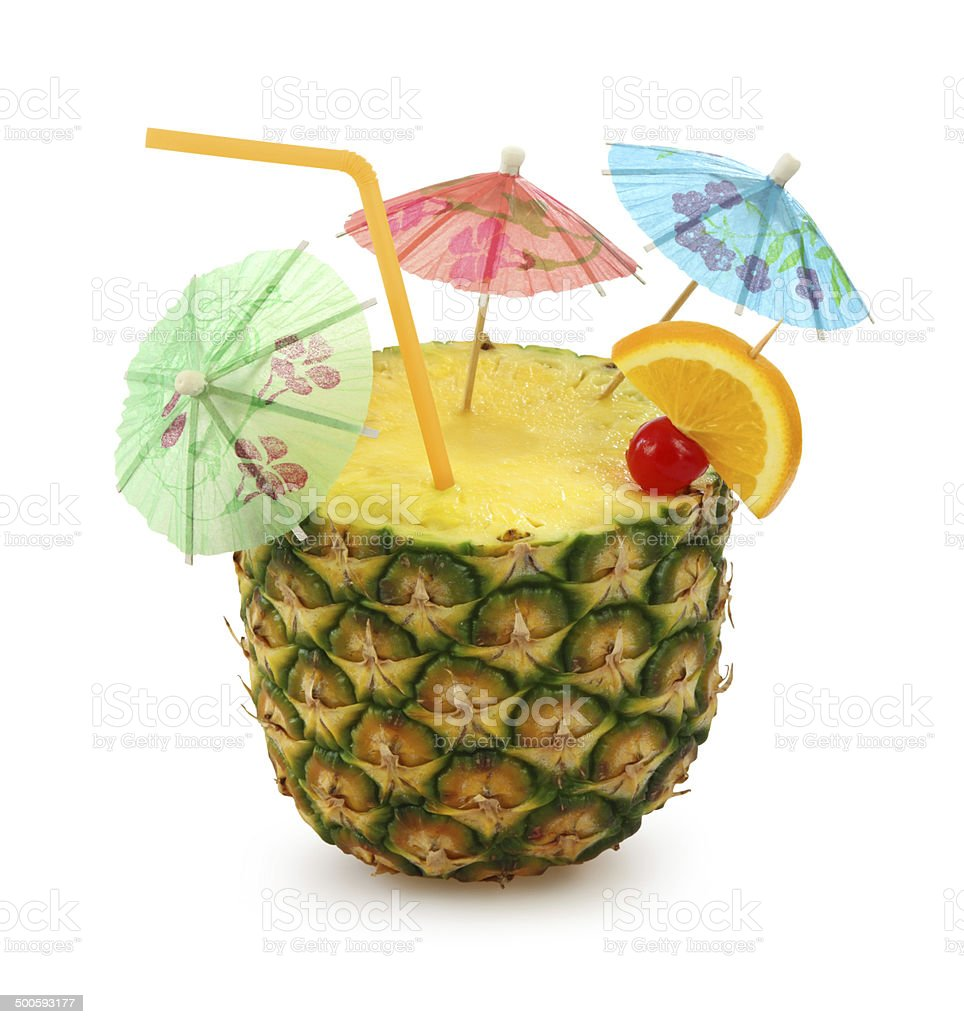 Pineapple Cocktail (Summer Concept) - with clipping path stock photo