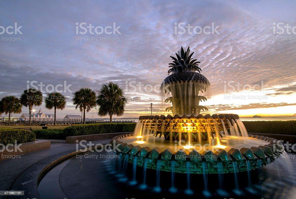 Pineapple Fountain of Charleston stock photo