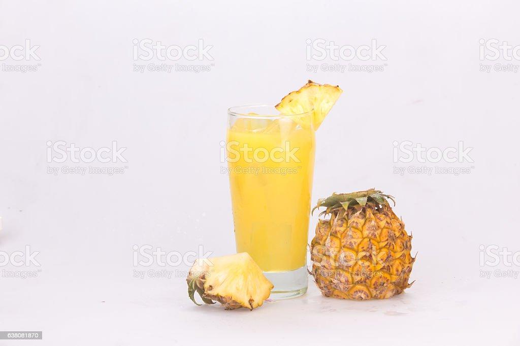 pineapple juice isolated on white stock photo