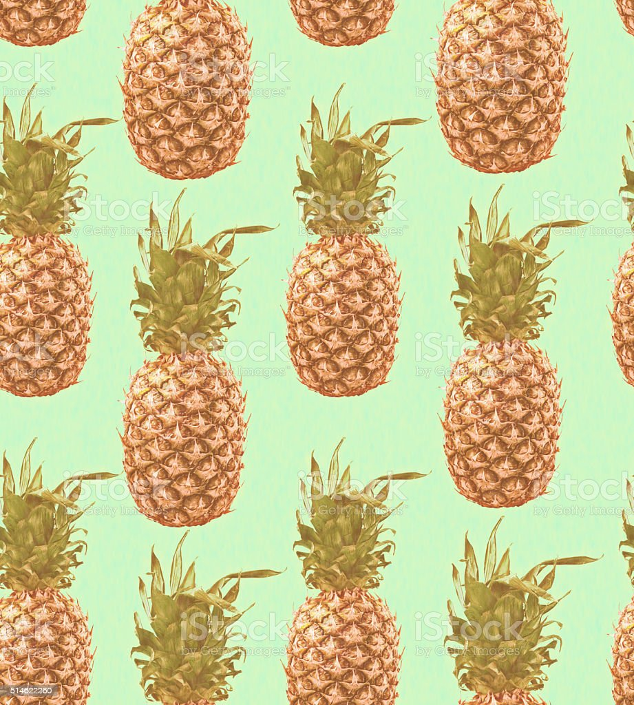 Pineapple seamless pattern in vintage colors stock photo