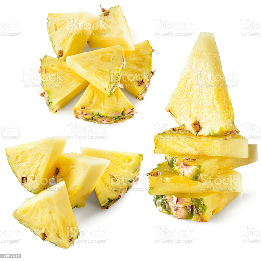 Pineapple slice isolated on white background. Collection. stock photo