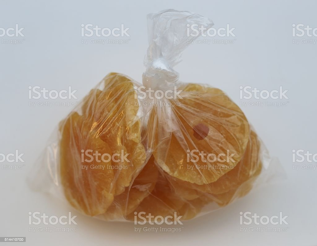 Pineapple Slices in a Plastic Bag stock photo
