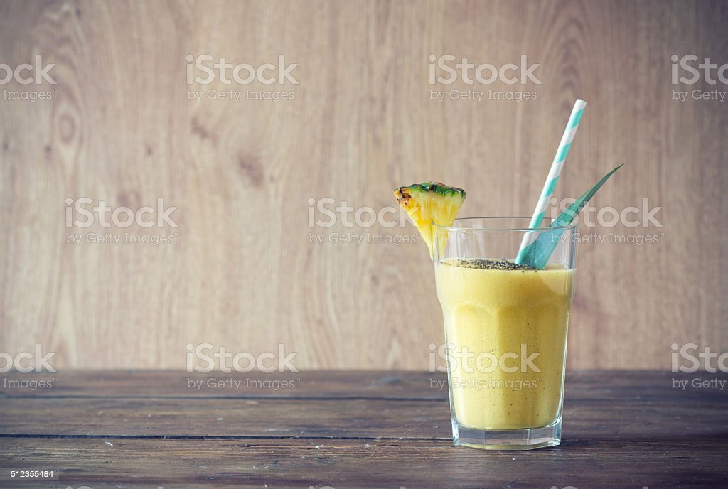 pineapple smoothie with chia seed stock photo