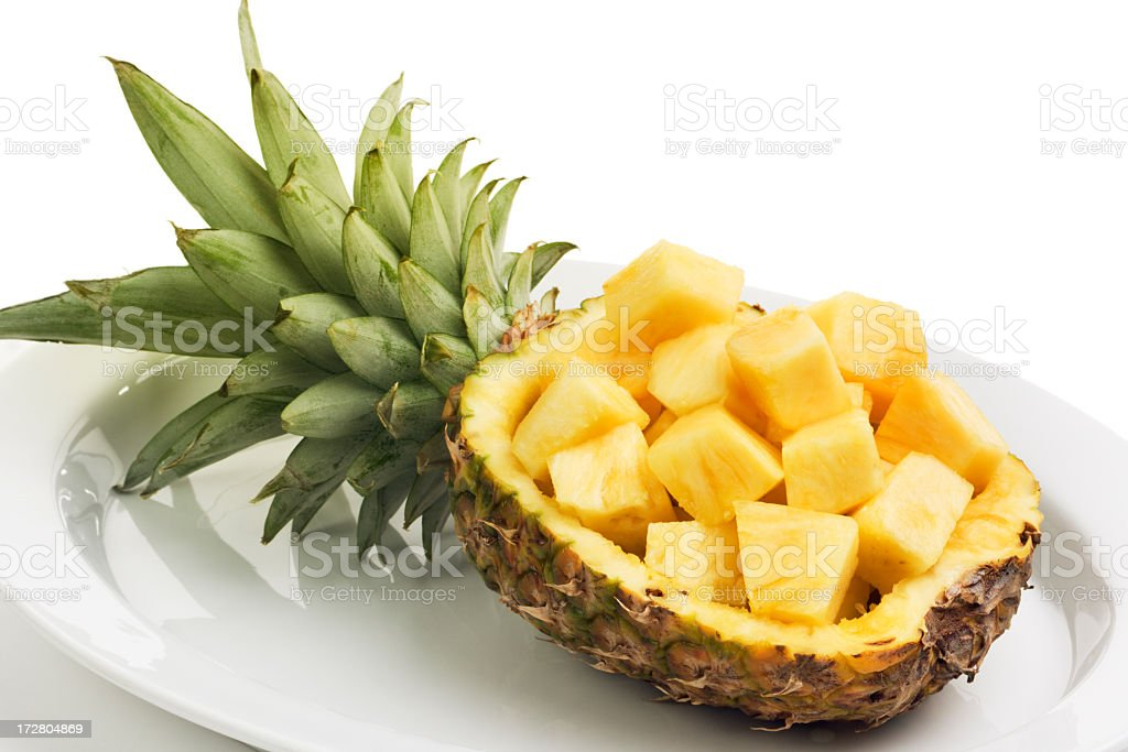 Pineapple Tropical Fruit, Chopped in Cubes for Fresh Food Preparation royalty-free stock photo