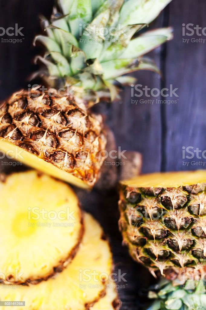 Pineapple tropical fruit or ananas with circle slices. stock photo