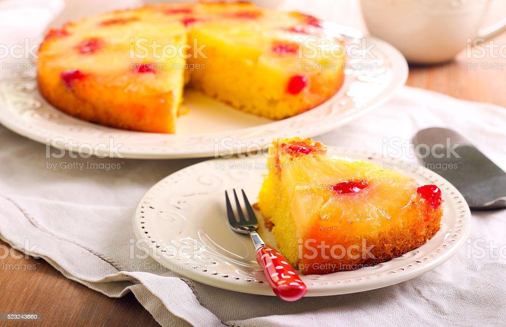 Pineapple upside down cake stock photo