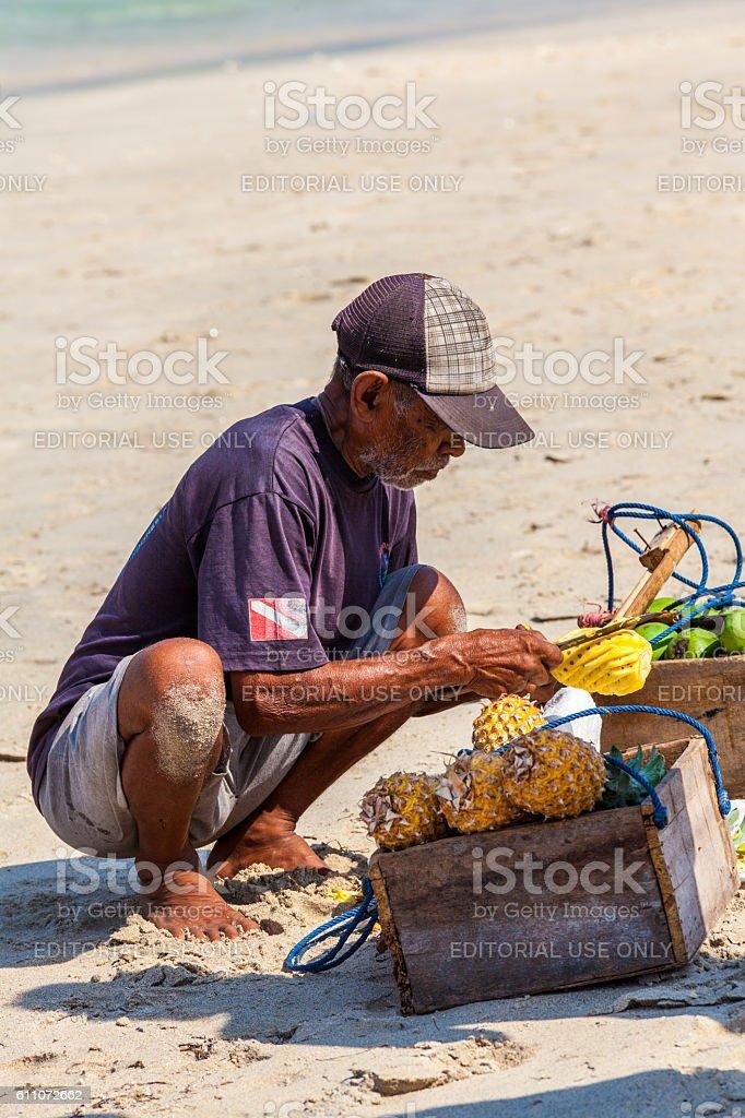 Pineapple Vendor in Lombok, Indonesia stock photo
