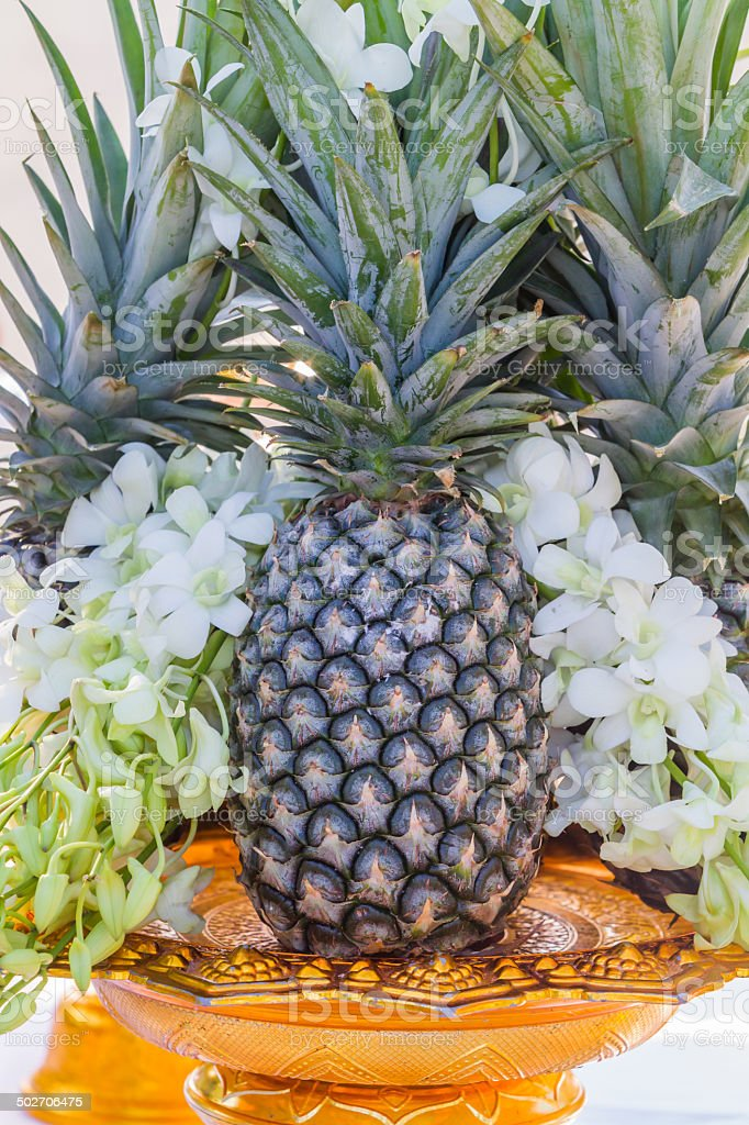 Pineapple with flowers on a golden tray with pedestal. royalty-free stock photo