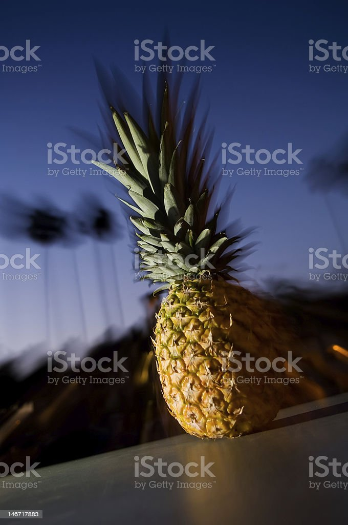 Pineapple with sunset and Palm Trees. stock photo