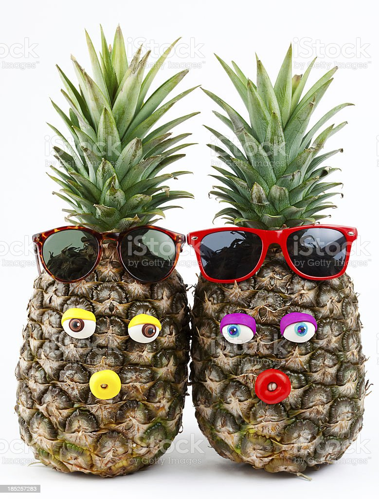 Pineapples portrait royalty-free stock photo