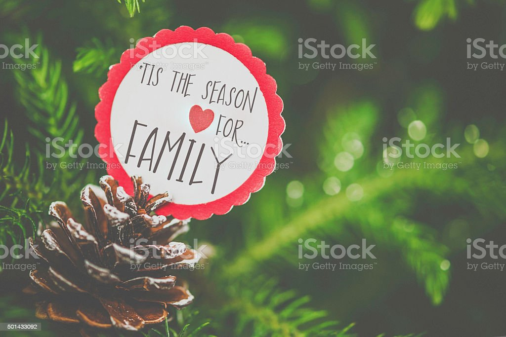 Pinecone and ribbon with message nestled amongst Christmas tree branches stock photo