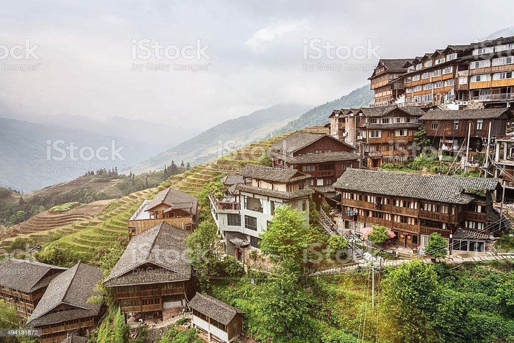 Ping An Village Longji Longsheng China Rice Terraces stock photo
