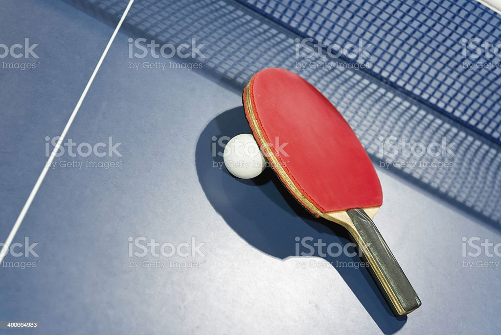 Ping pong ball and racket stock photo