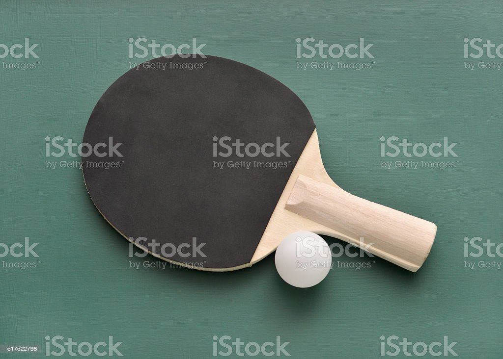 Ping Pong Paddle and Ball stock photo