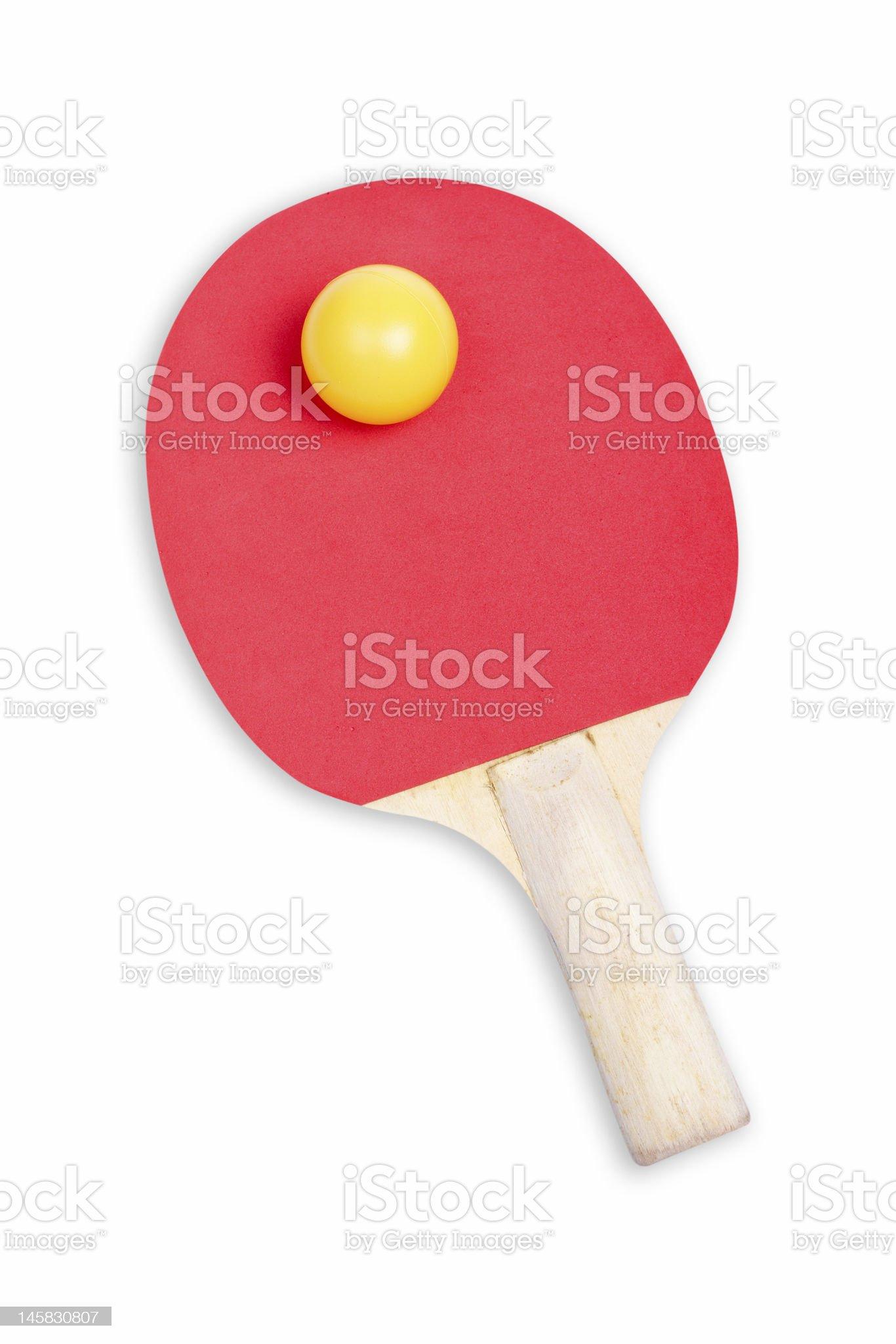 Ping pong paddle and yellow ball royalty-free stock photo
