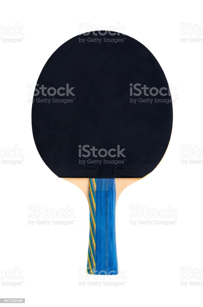 Ping Pong paddles and ball cutout, isolated on white background stock photo