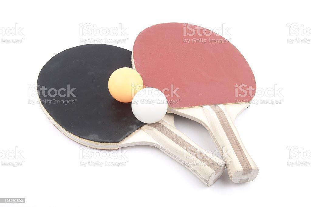 Ping pong paddles and balls royalty-free stock photo