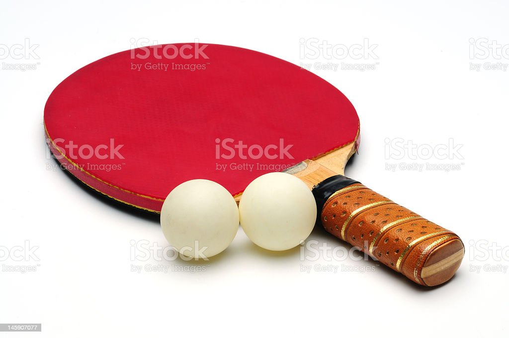 Ping Pong Racket with two tennis ball royalty-free stock photo