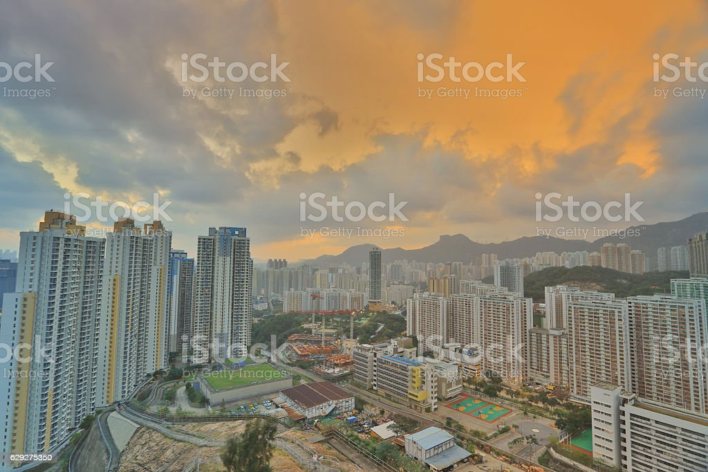 Ping Shan view Choi Ying Estate stock photo