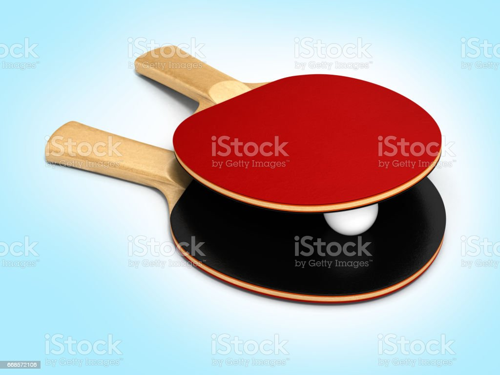 ping-pong rackets and ball on blue gradient background 3d stock photo