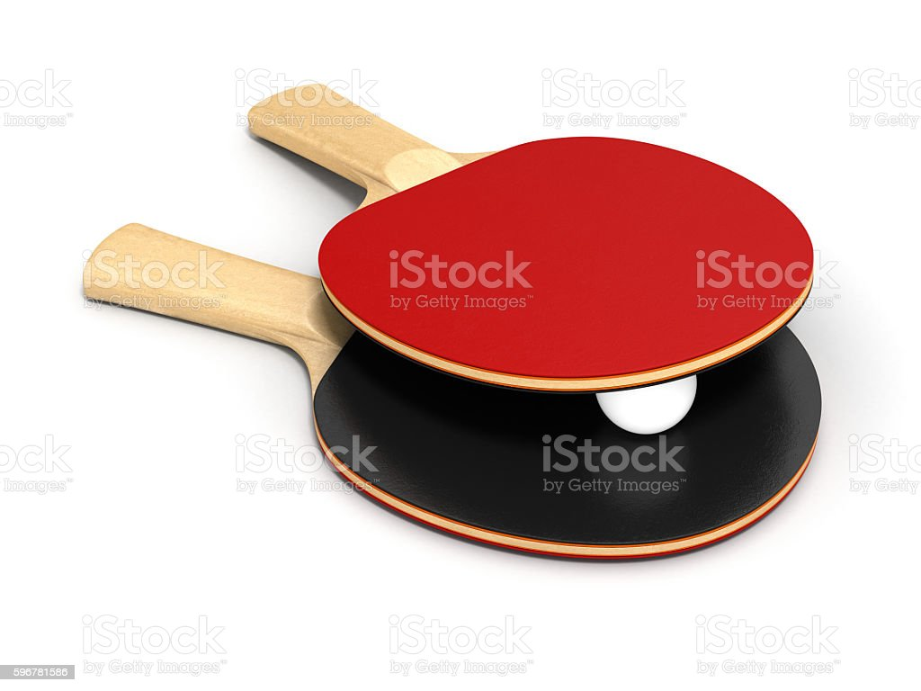 ping-pong rackets and ball on white background 3d stock photo