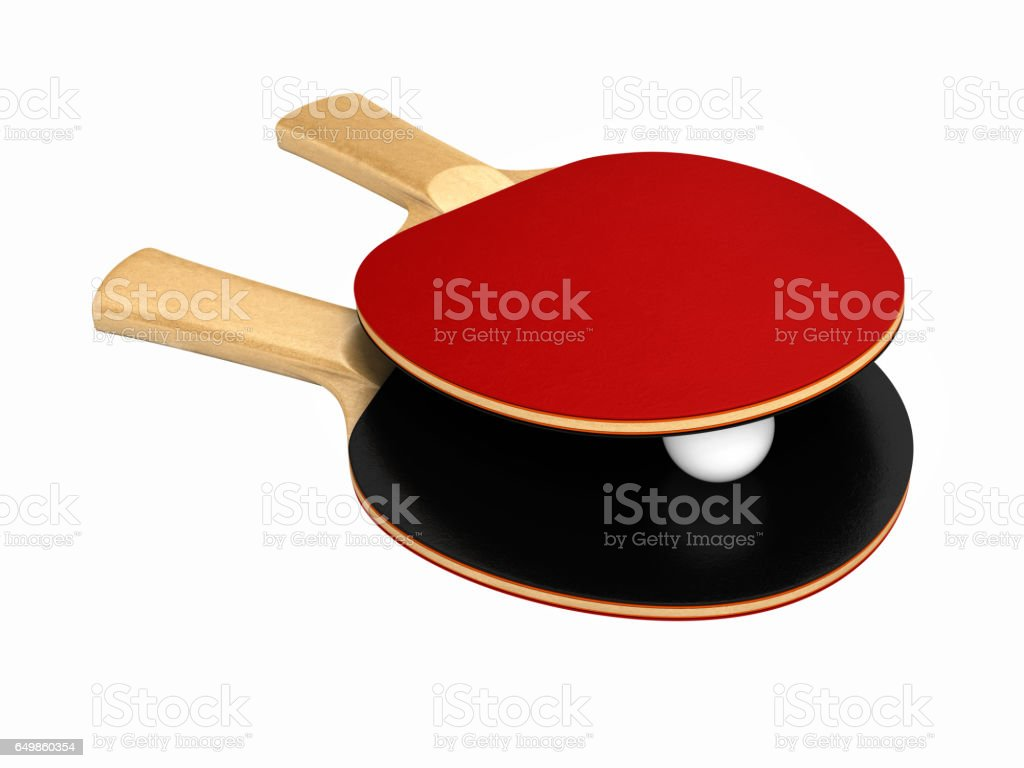 ping-pong rackets and ball without shadow on white background 3d stock photo