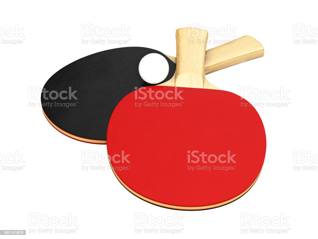 ping-pong rackets with ball without shadow on white background 3d stock photo