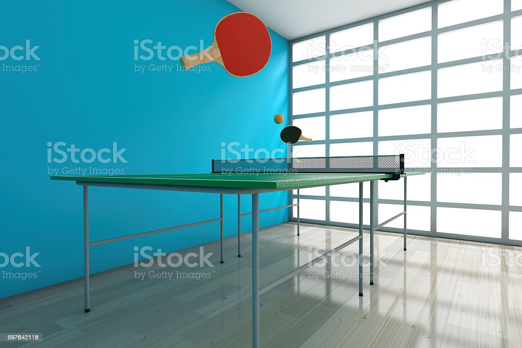 Ping-pong Tennis Table with Paddles. 3d Rendering stock photo