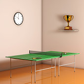 Ping-pong Tennis Table with Paddles. 3d Rendering