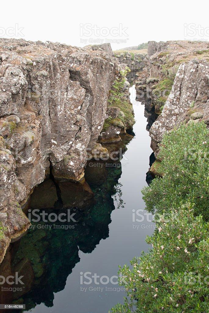 Pingvellir - miror reflection in water stock photo