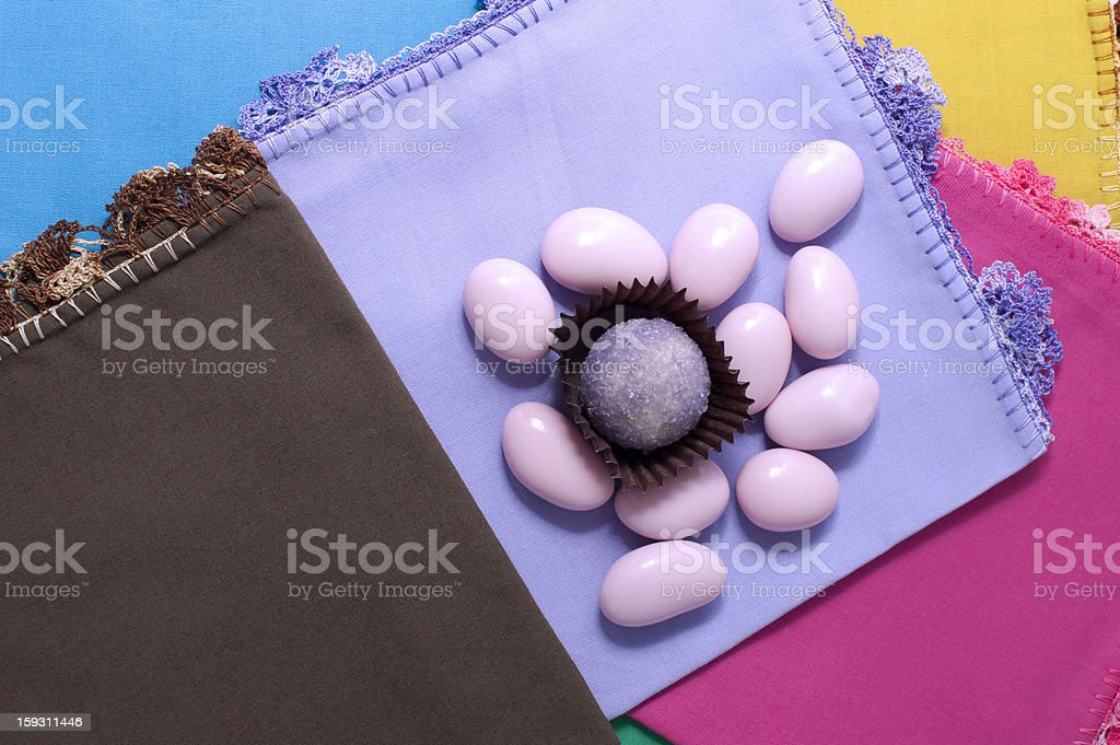Pink Almond Sweets and Chocolate royalty-free stock photo