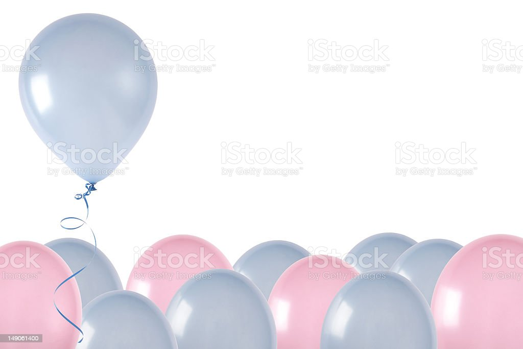 Pink and blue ballons-blue rising royalty-free stock photo