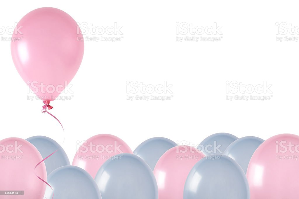 Pink and blue balloons, one rising royalty-free stock photo