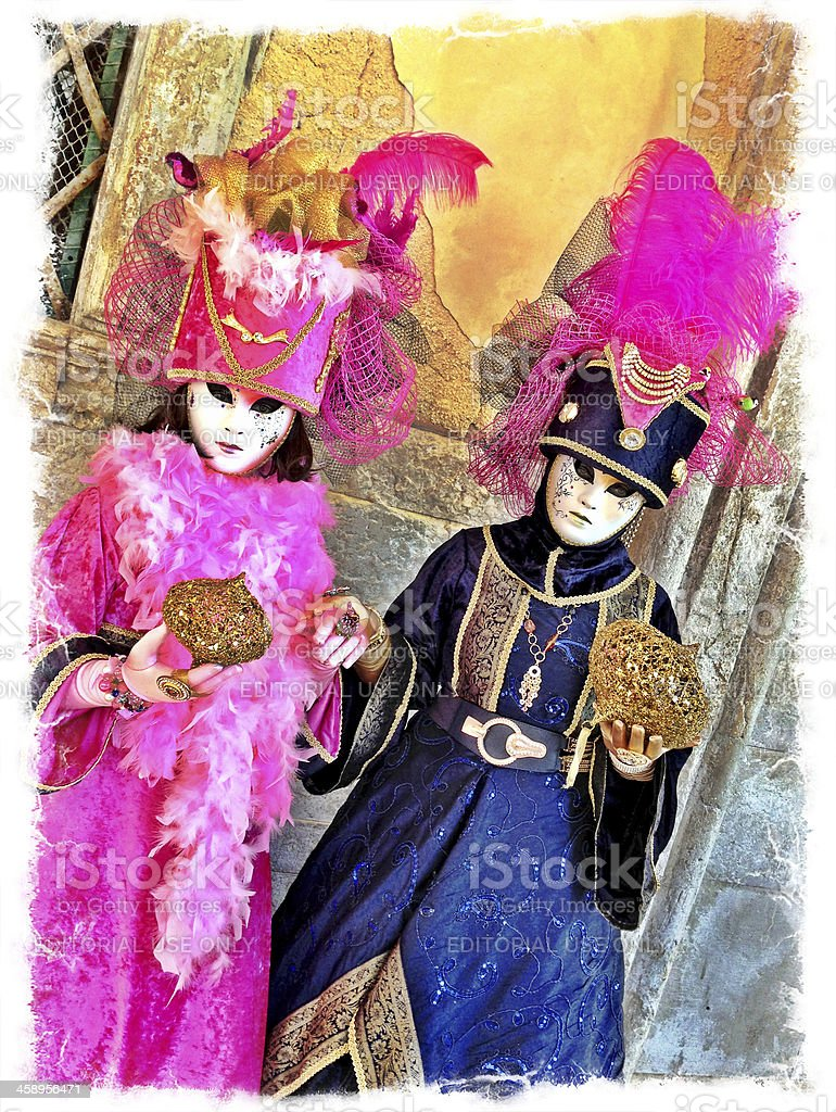Pink and Blue Masks in San Zacharias Venice Italy royalty-free stock photo