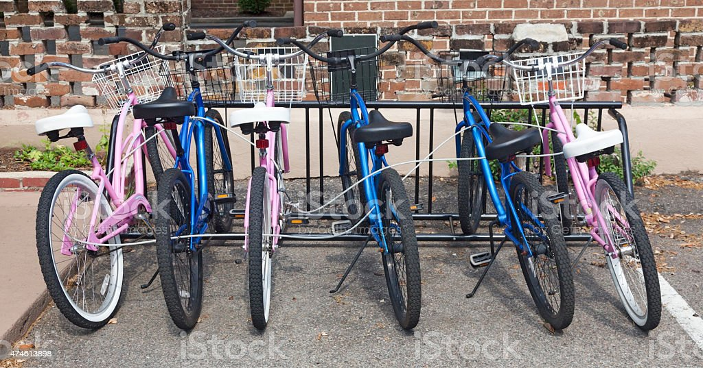 Pink and Blue Rental Bikes stock photo