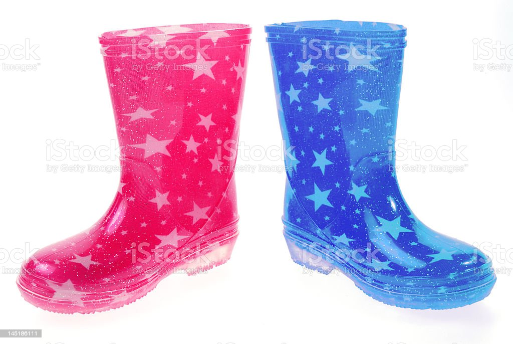Pink and blue Wellington boots royalty-free stock photo