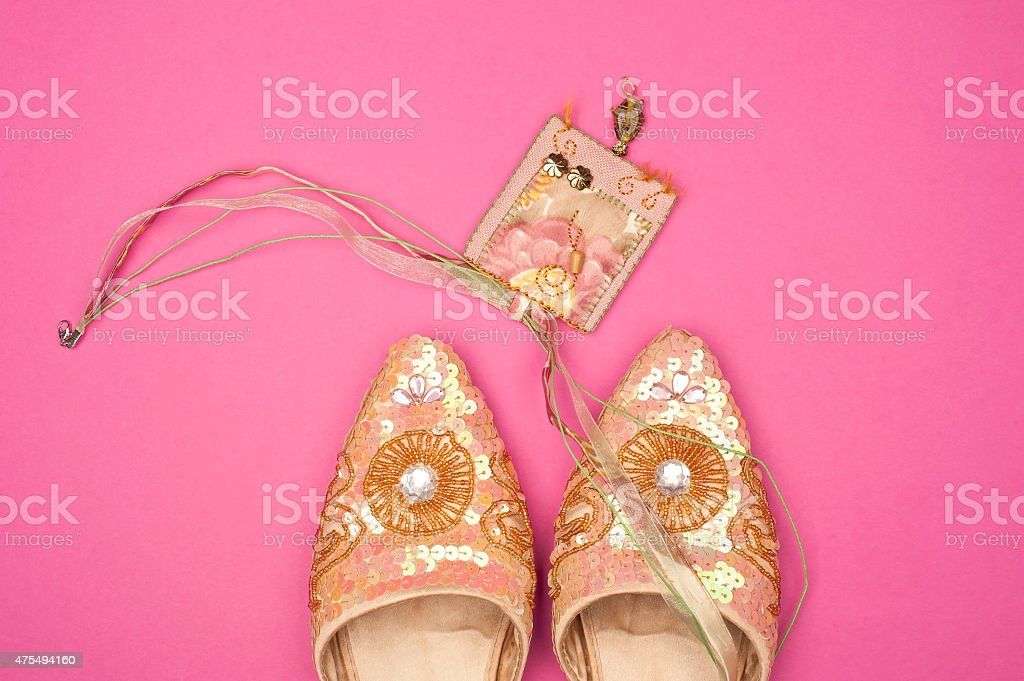 Pink and gold fashion stock photo