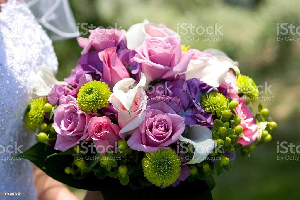 Pink and green floral wedding bouquet royalty-free stock photo